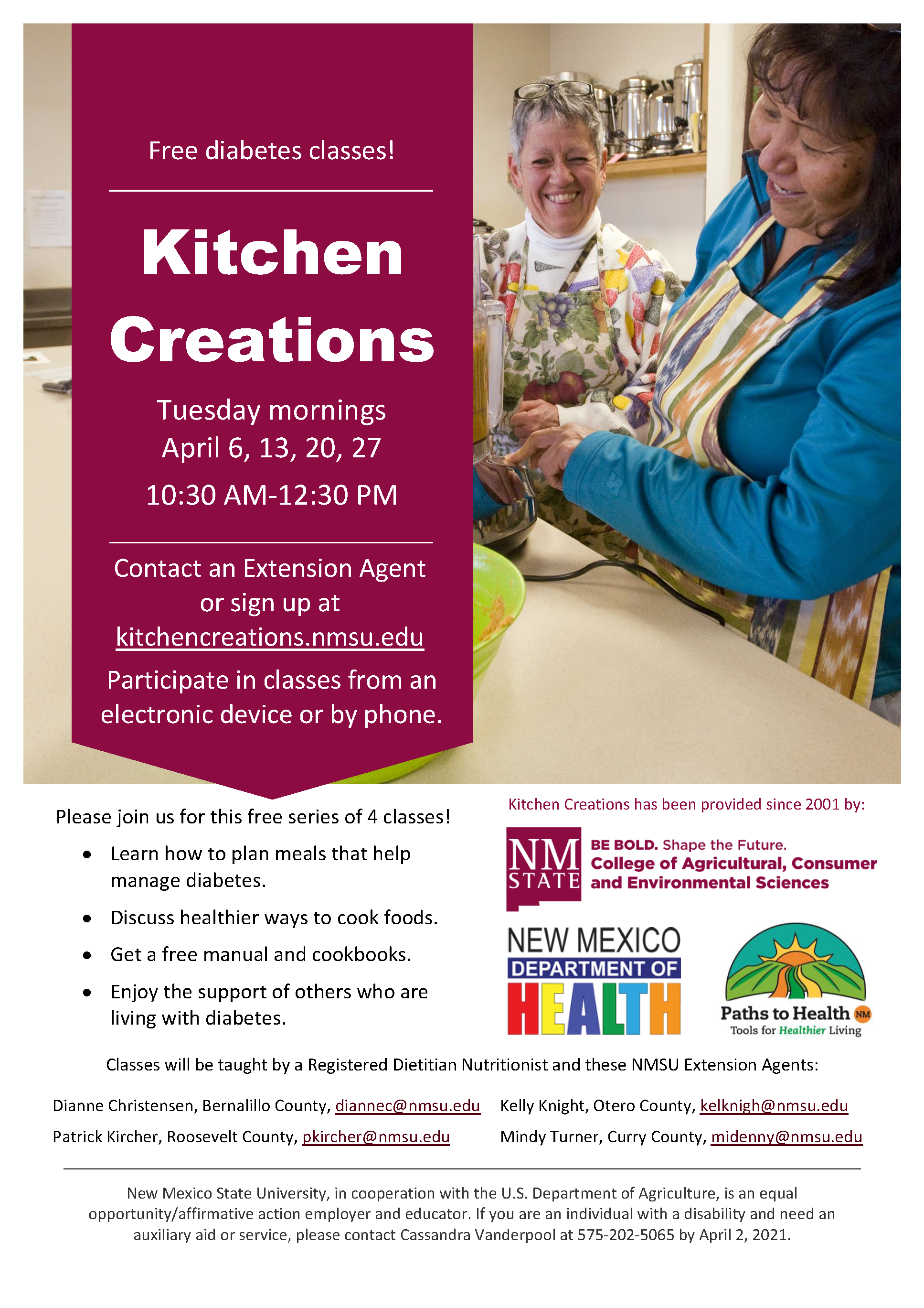 Kitchen Creations Class Flyer